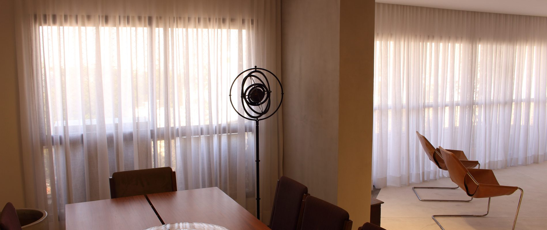 Sala de estar e jantar com cortina wave - portifólio